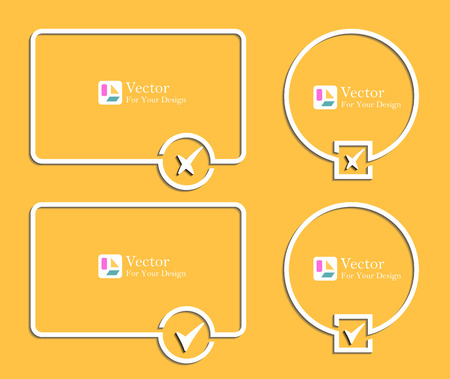 confirmation: outline banners with check marks confirmation Illustration