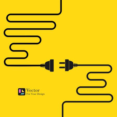 와이어 플러그와 소켓과 추상적 인 벡터 배경입니다. 개념 연결, 분리, 전기. 일러스트