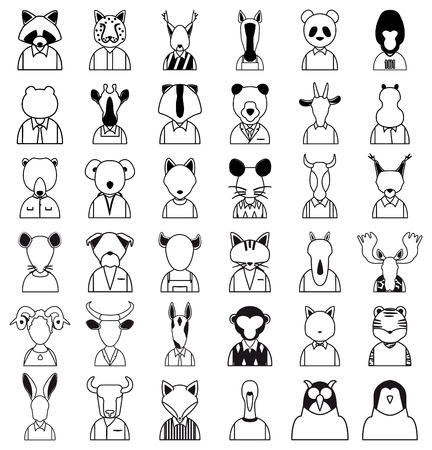 animals outline: Line animals icon. Animals outline silhouettes vector set