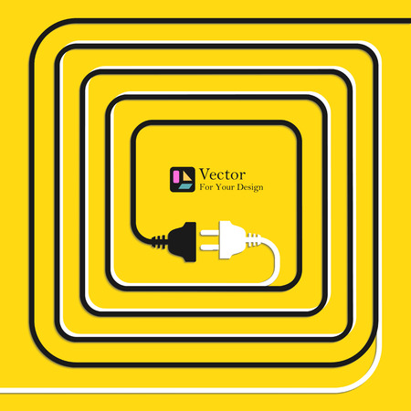 disconnection: Abstract vector background with wire plug and socket. Concept connection, disconnection, electricity.