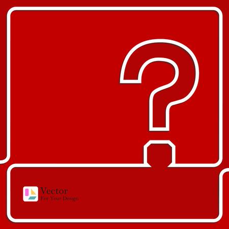 questionail: Icono de signo de interrogaci�n. S�mbolo de Ayuda. FAQ signo sobre un fondo rojo. Ilustraci�n vectorial Contorno Vectores