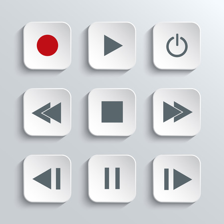 rec: Vector Media player control  icon set  white app buttons with home