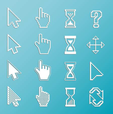 Pixel cursors and outline icons: mouse hand arrow hourglass. Vector Illustration. Vector