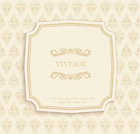 ベクトル ゴールド ヴィンテージ招待と花柄のグリーティング カード
