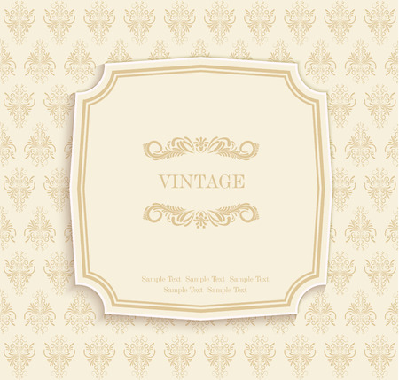Vector Gold  Vintage Invitation and Greeting Card with Floral Pattern Illustration