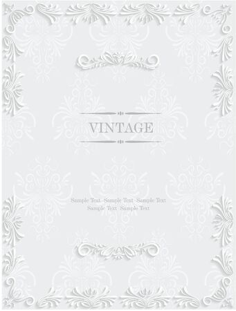 Vector White Vintage Background with Floral. Pattern for Greeting or Invitation Card Design