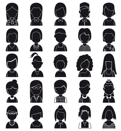 multitude: Woman Silhouettes Icon. Vector avatar Illustration