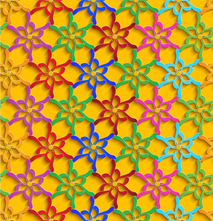 Floral Multicolored 3d Seamless Pattern Yellow Background.Vector Decoration For Wallpaper or Invitation Card Vector