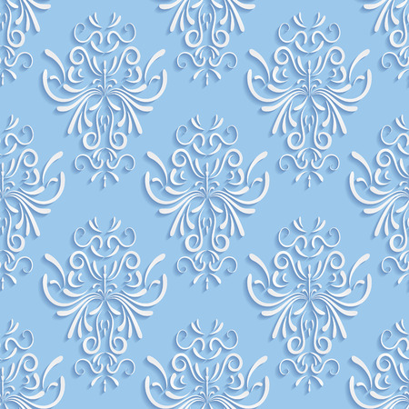 Vector Blue Seamless Background with 3d Floral Pattern and  Backdrop for Greeting or Invitation Card Vector