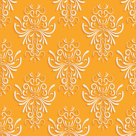 Vector Orange Seamless Background with 3d Floral Pattern and  Backdrop for Greeting or Invitation Card Vector