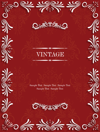 Vector Red Vintage Background with Floral. Pattern  for Greeting or Invitation Card Design Vector