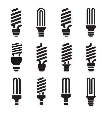 cfl: CFL lamp  set icons on white background. Vector illustration. Illustration