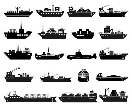 Ship and boat icon set. Vector illustration Illustration