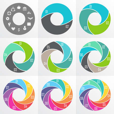8 9: Vector circle arrows for infographic. Template for diagram, graph, presentation and chart. Business concept  with  2, 3, 4, 5, 6, 7, 8, 9  options, parts, steps or processes Illustration