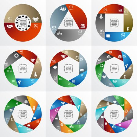 7 8: Vector circle infographic. Template for cycle diagram, graph, presentation and round chart. Business concept with 2, 3, 4, 5, 6, 7, 8, 9, 10  options, title, steps or processes. Layout with menu bar. Illustration