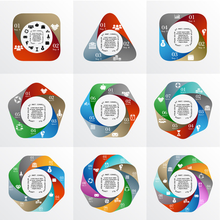 heptagon: Vector geometric infographic. Template for cycle diagram, graph, presentation. Business concept with 2, 3, 4, 5, 6, 7, 8, 9, 10  options, title, steps or processes. Layout with menu bar.