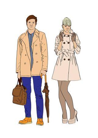 trendy male: Stylish boy and girl
