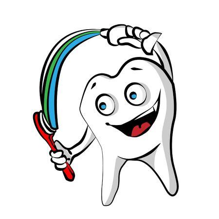prophylaxe: Gl�cklicher Zahn mit Zahnpasta