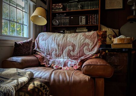 Leather Reading Chair with a Lamp and Books Editorial
