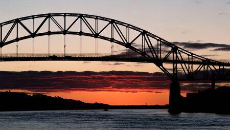 Sagamore Bridge in Silhouette just before Dawn Banco de Imagens