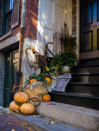 Decorations cascading Down House Steps Away Form a Front Door