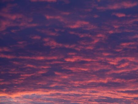 A cloudcover of stratocumulus clouds at sunset.