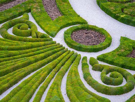 Topiary cortado en un diseño 2D en un gran jardín
