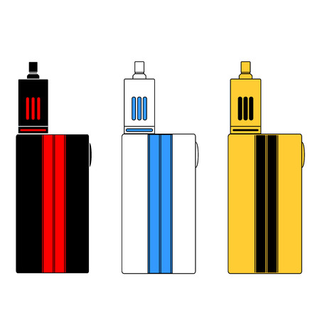 three colors: flat icons of electronic cigarettes in three colors. Illustration