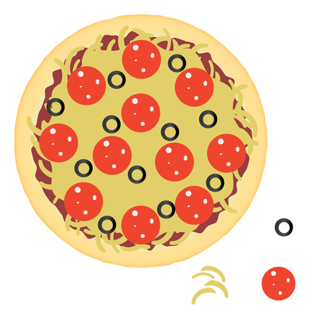 pepperoni pizza: Pepperoni pizza with ingredients. Illustration