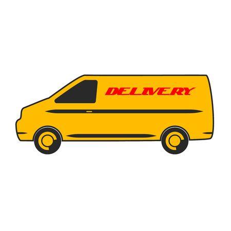 pollution free: Delivery van car design flat vector illustration.