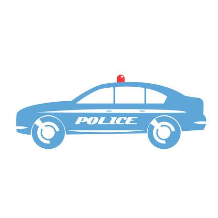 Blue police sedan car in flat design.
