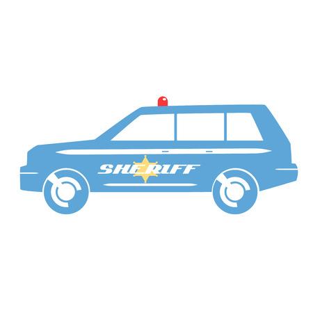 sheriff: Blue sheriff SUV car in flat design.