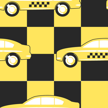 yellow and black: Pattern Taxi Cab on Yellow - Black background