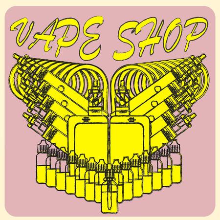 propylene: Vector emblem of vape. Isolated on pink background. Illustration