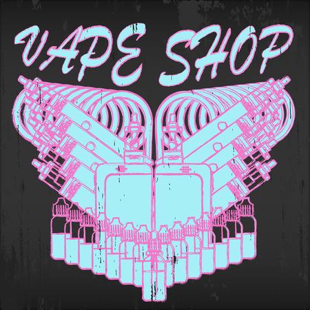 propylene: Vintage vector emblem of vape shop on blackboard background.