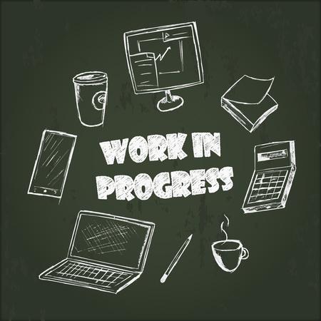 creador: Conjunto de elementos del creador escena tiza fondo ongreenboard. aparatos y equipos de oficina dibujado a mano.
