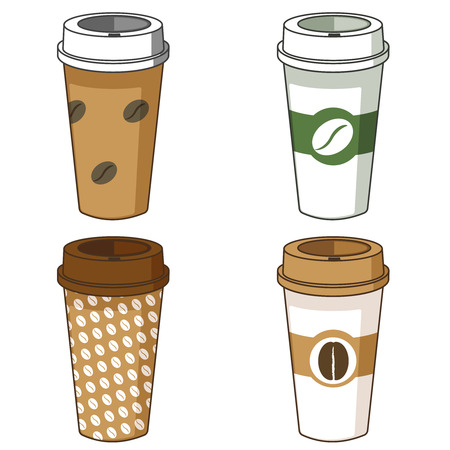 Take away coffee cup illustration set, isolated.