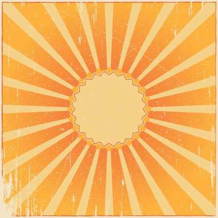 Vintage yellow vector grunge background. Retro burst.