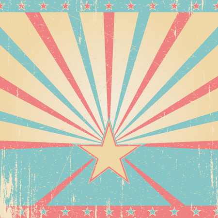 Textured pink blue retro background. Vintage poster with star.
