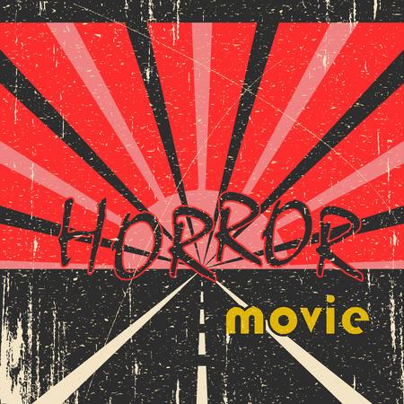 horror movie: Horror movie grunge vintage poster with road Illustration