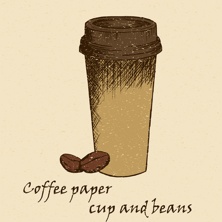 lowbrow: Sketch illustration of a paper cup of coffee in vintage colour style Illustration