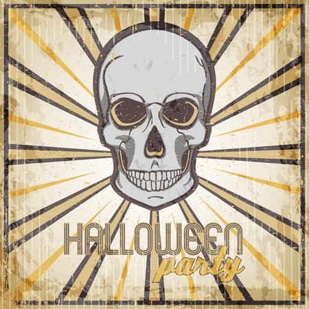 intertainment: Halloween Party vintage design template for card, poster, flyer, vector illustration with skull. Illustration