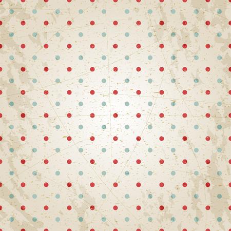vintage paper: Grunge vintage paper texture, red and blue dots, vector background. Illustration