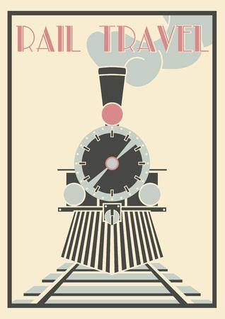 Layered Vectorvintage Illustrazione Di Locomotiva a vapore - Rail Travel.