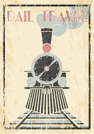 steam iron: Layered Vectorvintage Illustration Of Steam Locomotive - Rail Travel. Illustration