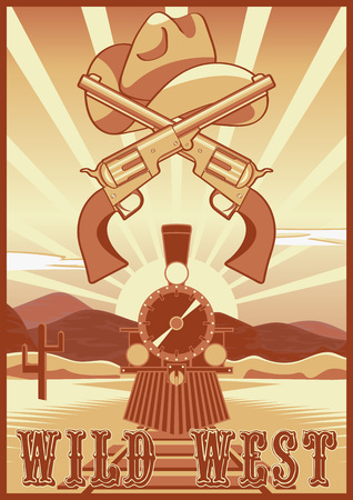 tarjeta de cosecha salvaje oeste o un cartel en el paisaje desierto, tren, revólveres, sombrero de vaquero y rayos.