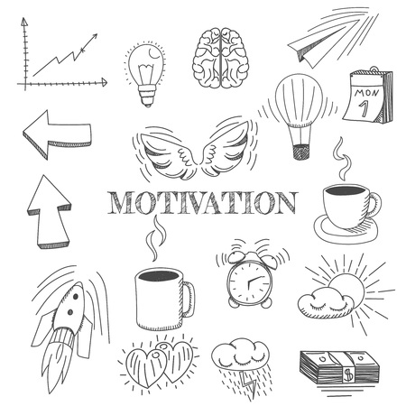 Vector - Hand drawn vector illustration set of motivation and buisness sign and symbol doodles elements.