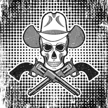 Vector - Skull in cowboy hat with revolvers, grunge vintage polka dot background.
