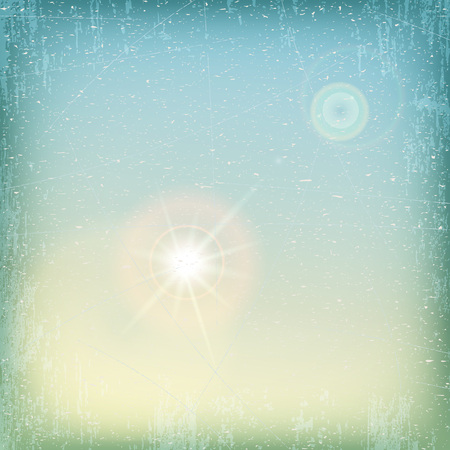 sun flare: Vector - vintage grunge sky background with sun flare - blue and yellow.