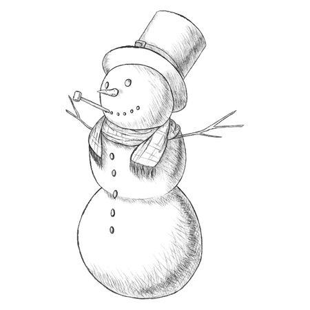 tall hat: Christmas hand drawn pen vector illustration - snowman in tall hat with pipe, vintage style. Isolated on white background.